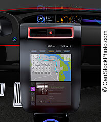 Electric car multimedia interface design concept.