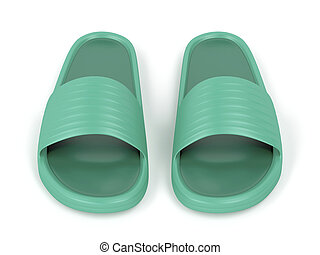 Front view of green slippers - Front view of green rubber...