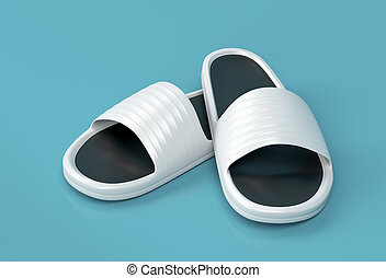 White slippers - White rubber slippers on shiny background