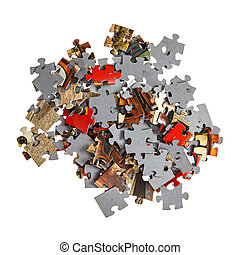Pile of jigsaw pieces