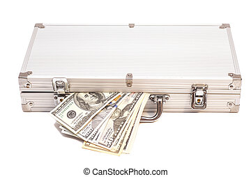 Silver case with dollars on  white background