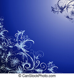 blue floral background - blue gradient floral background...