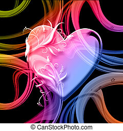 colourful heart on swirling abstract background