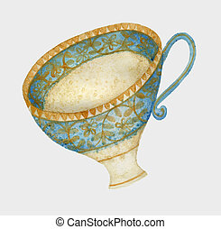 Vintage Teacup - Quirky watercolour illustration of a...