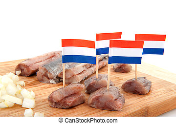 Dutch herring - Dutch traditional raw fish herring with...