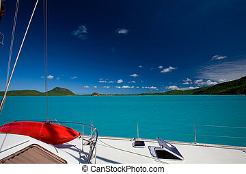 catamaran - luxury boat in harbour at St martin - west...