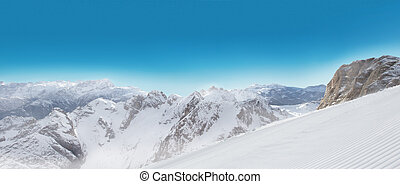 Alps panorama view in winter snow time