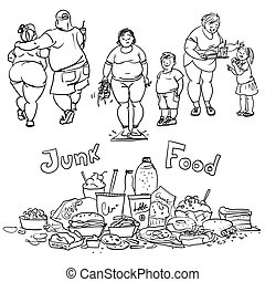 Junk food and obese people.