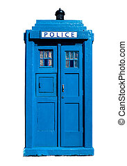 Traditional UK Police Box - Isolation Of A Traditional Blue...