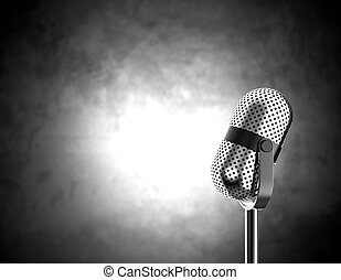 Microphone on black and white - Vintage microphone isolated...