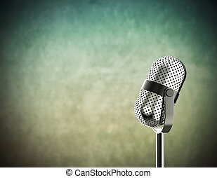 Microphone on green - Vintage microphone isolated on a green...