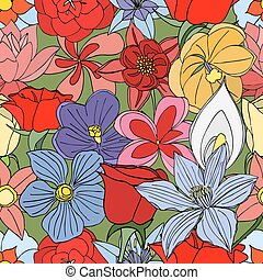 flowers seamless pattern - Beautiful summer ornate from many...