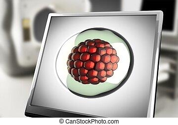 Un, micro, célula, en, monitor, en, laboratorio,