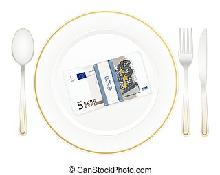 plate cutlery and five euro pack