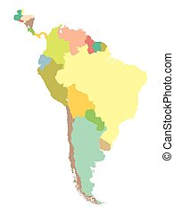 political map South America on a white background.
