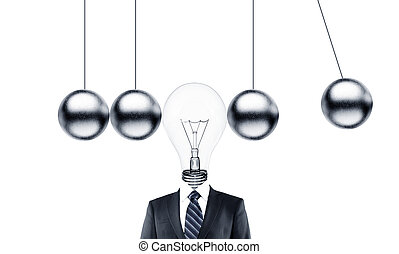 pendulum - businessman head lamp and metal pendulum