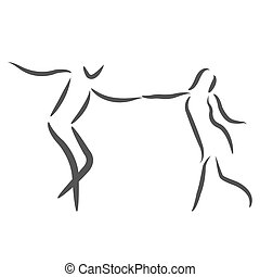 Dancing couple logo. Man and woman dancing together. Raster...