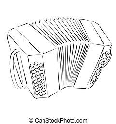 Bandoneon. - Sketched bandoneon concertina. Design template...