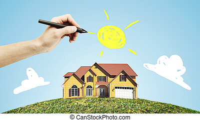 hand drawing house and sun
