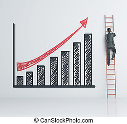 businessman climbing on ladder and stock chart