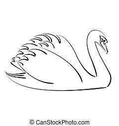 Black swan. - Sketched black swan. Design template for...