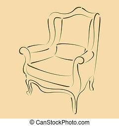 Sketched armchair. - Elegant sketched armchair. Harmonic...