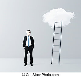 businessman and cloud Stairway to Heaven