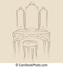 Dressing console - Sketched retro dressing console,...