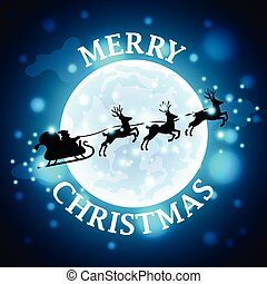 Santa reindeer silhouette on moon background