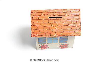 House Money Box on White Background