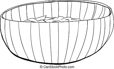 Bamboo Bowl with Salad Outline - Isolated illustrated...