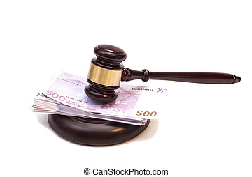 Judge gavel and euro banknotes isolated on white