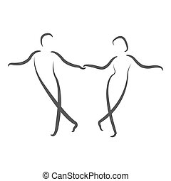Dancing couple logo Swing dance Design template for label,...