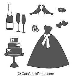 Vintage wedding invitations icons. Design template for...