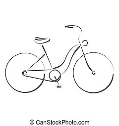 Sketched female bicycle. Design template for label, banner...