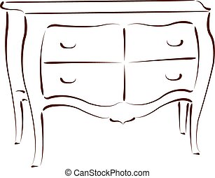 Sketched chest of drawers. - Sketched chest of drawers...