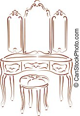 Sketched retro dressing console, pier-glass, dressing table...