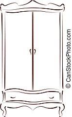 Sketched vintage wardrobe. - Sketched vintage wardrobe...