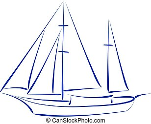 Sketched yacht. - Elegant sketched yacht isolated on white...
