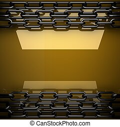 yellow metal plate with some reflection and black elements