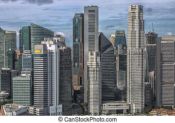 Singapore`s business district - Singapore Skyline....