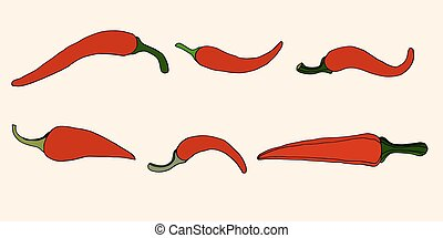 Pepper, vector illustration - Set of Peppers, Isolated on...