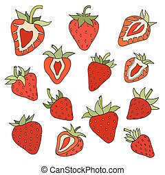 Strawberry set. Hand drawn with paints. Isolated elements.