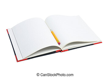 Pencil and Note Book on White Background