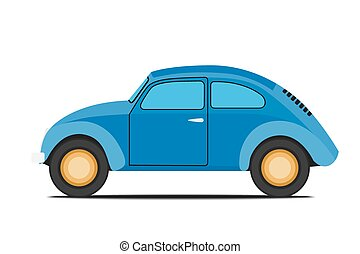Blue car.  - Blue Old car. Isolated on  with background