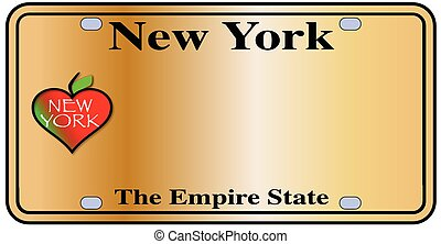 New York Empire State Plate - New York License Plate with...