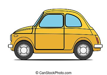 Yellow car - Yellow Old car Isolated on with background
