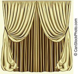 Blinds - Golden handdrawn blinds. Vector illustration of...