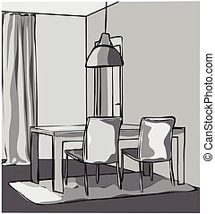 Dinner table - Hand drawn dinner table sketch Vector...