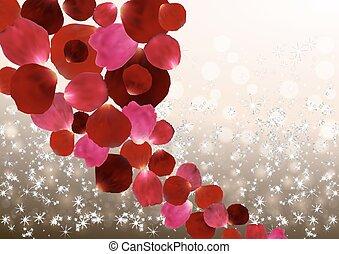Colorful rose petals - Illustration of colorful red and pink...